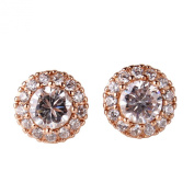 GULICX Classic Round White Clear Zircon 18k Rose Gold Plated Party Huggie Stud Earrings