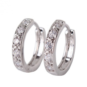 GULICX Victorian-style White Clear Zircon 18k White Gold Plated Huggie Hoop Earrings for Girl