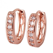 GULICX Shinning Clear White Cubic Zirconia 18k Rose Gold Plated Hoop Huggie Earrings for Girl