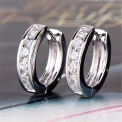 GULICX Retro-style White Clear Zircon Vogue 18k White Gold Plated Huggie Hoop Earrings for Girl