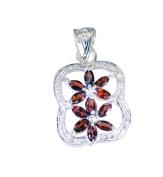 Riyo Gems Women's Garnet Organic Silver Jewellery Silver Pentacle Pendant Red N½