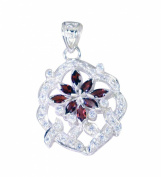 Riyo Gems Women's Garnet India Silver Jewellery Mom Pendants Red N½