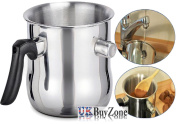 1.2 L Milk Chocolate Melting Whistling Pot Pan Double Walled Stainless Steel