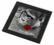Gorilla+Red Rose 'Love You Mum' Glass Coaster with Black Rim Animal Gift