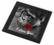 'I Love You' Gorilla with a Red Rose Glass Coaster with Black Rim Animal Gift