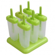 6-Cell Rectangle Shaped Reusable DIY Frozen Ice Cream Pop Moulds Ice Lolly Makers with Base