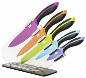TAYLORS EYE WITNESS 5-Piece Non-Stick Coated Acrylic Sloping Knife Block Set with Soft Touch Handle Knives, Set of 6, Multi-Colour