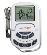 Meat Thermometer with Stainless Steel Probe on Braided Steel Cable- For Use in Oven, Grill or BBQ - Perfect cooking/roasting/baking results - Timer, Alarm and Clock Functions - Easy Read Digital Display.