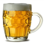 Traditional Glass Pint Tankards CE - Set of 2 | Also known as Dimpled Beer Tankard, Britannia Pint Mug, Beer Stein, Beer Mug