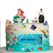 The Little Mermaid Happy Birthday Stand Up Scene Premium Edible Wafer Paper Cake Toppers Decorations