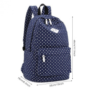 Nazza Lightweight Casual Daypack Nazza Canvas Polka Dot Backpack Laptop School Bag for Teenage Girls