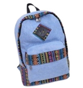 Fansela(TM) Womens Retro Vintage Canvas Backpack Casual Daypack for Teenage Girls Blue