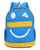 Fortuning's JDS® New arrival cute smile style blue canvas backpack preschool bag for children