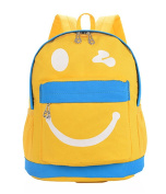 Fortuning's JDS® New arrival cute smile style yellow canvas backpack preschool bag for children