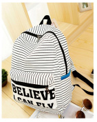 Fortuning's JDS® New white striped cotton canvas backpack rucksack book bag - BELIEVE I CAN FLY