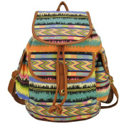 Fortuning's JDS® Vintage printed stripe canvas school bag, women daypack