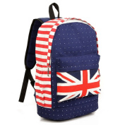Fortuning's JDS® British style unisex canvas red stripes & dots backpack knapsack