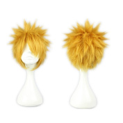 COSPLAZA Cosplay Wigs Uzumaki Naruto 30CM Short Spiky Gold Yellow Male Anime Show Party Full Hair