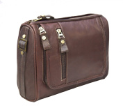 Prime Hide Outback Range Luxury Brown Leather Hanging Wash Bag / Toiletry Bag