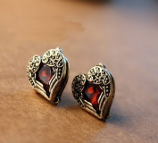 Antique Style Ruby Stud Earrings