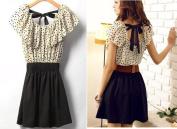 Polka Dot Black & Cream Dress