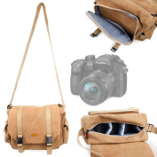 DURAGADGET Brown Canvas Carry Bag / Case for Panasonic LUMIX G Camera DMC-GH4 / LUMIX DMC-FZ1000 - With Multiple Adjustable Storage Compartments and Long Shoulder Strap
