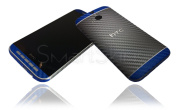 Grey/Blue Carbon Skin For HTC One M8 Wrap Cover Decal Protector NOT CASE