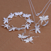 . Wedding Fashion 925 Silver Plated Jewellery Set Hand Chain Bracelet Necklace Hook Earings Eardrop Ring Zircon Dragonfly