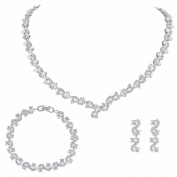 Ever Faith Leaf Lace Clear Full Pave Cubic Zirconia Wedding jewellery Set Silver-Tone N03406-1