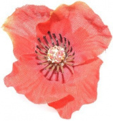 Red poppy hairclip and brooch