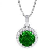 1.16ct Emerald and Diamond White Gold Halo Pendant