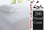 Homefurnishing Luxury 100% Egyptian Cotton 200 Thread Count Quilted Mattress Protector