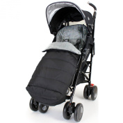 XXL Large Luxury Foot-muff And Liner For Maclaren Techno XT - Black/Grey