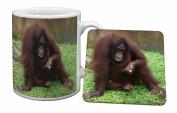 Orangutan Mug and Table Coaster, Ref:AM-7MC