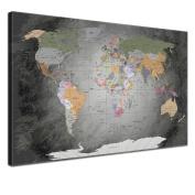 "LanaKK - World Map with cork for pinning destinations - ""Worldmap Noble Grey "" - english - Art Print corkboard in grey, framed in one part 100 x 70 cm"