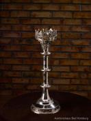 Candlestick holder - oversize church altar style - silver-colour brass