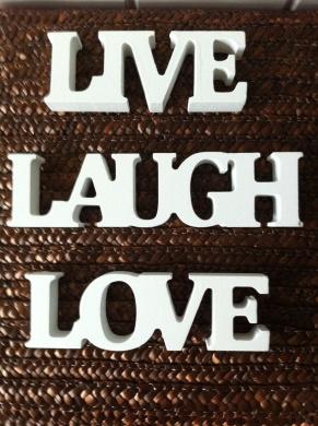 Small Block Lettering Cream Live Love Laugh #HEART118