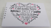 Personalised Birthday Party Guest Book Typography Memory Book 21st 18th 50th Any Age.