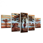 Bilderdepot24 paintings African dreams M2 hand-painted Canvas Artwork 59.06 inch x 27.56 inch ( 150x70cm ) 5 pieces 604