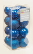 16 x Midnight Blue shatterproof Christmas tree Baubles Decorations Mixed finishes