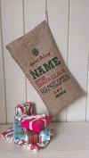 Personalised Father Christmas Xmas Santa Sack / Stocking Bag Jute Hessian