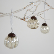 Small Antique Effect Glass Christmas Bauble Decoration-Pack of Three