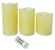 Andrew James Set of 3 Flameless Natural Glow Vanilla Scented LED Candles With Remote Control And Timer - 2 Year Warranty- Use Indoors Or Outdoors