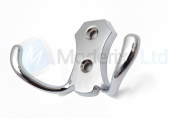 Double Coat Hanger Hook Door Wall Bath - BK24 Chrome
