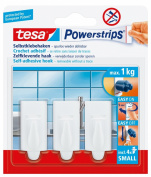 tesa 57559 Powerstrips Small Hooks, Trend White Rectangle, Self Adhesive and Removable