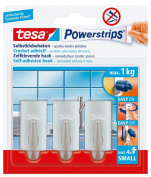 tesa 57544 Powerstrips Small Hooks, Chrome Rectangle, Self Adhesive and Removable