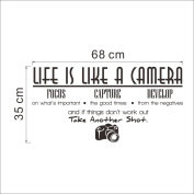 """Life is like a Camera"" wall quote art sticker decal for home bedroom decor corp office wall"