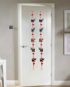 Door Hanging Decorative Five Hand Painted Elephant Stringed Together with Beads and Brass Bell Set of 2 pcs