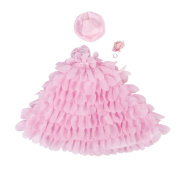 Princess Doll Wedding Gown Lace Floral Dress with Hat and Flower Pink