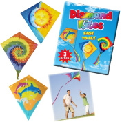 DIAMOND KITE DOLPHINS CHILDREN BOY GIRL FLY KIDS AIR OUTDOOR ACTIVITY COLOURS